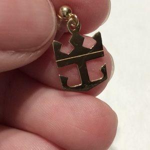 14k Anchor Pierced Earrings